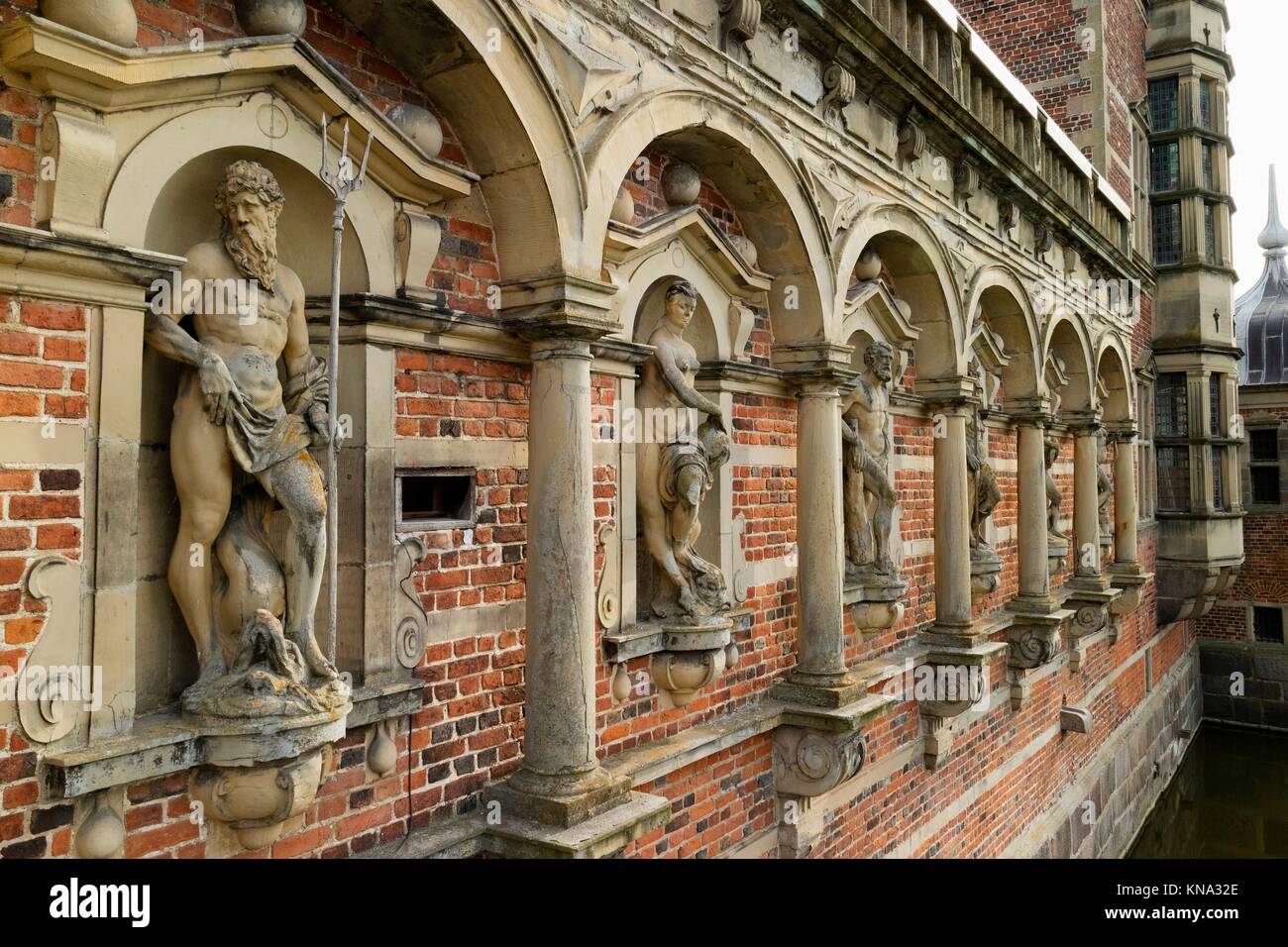 Sculptures at the Frederiksborg Castle in Hillerod, Denmark. - Stock Image
