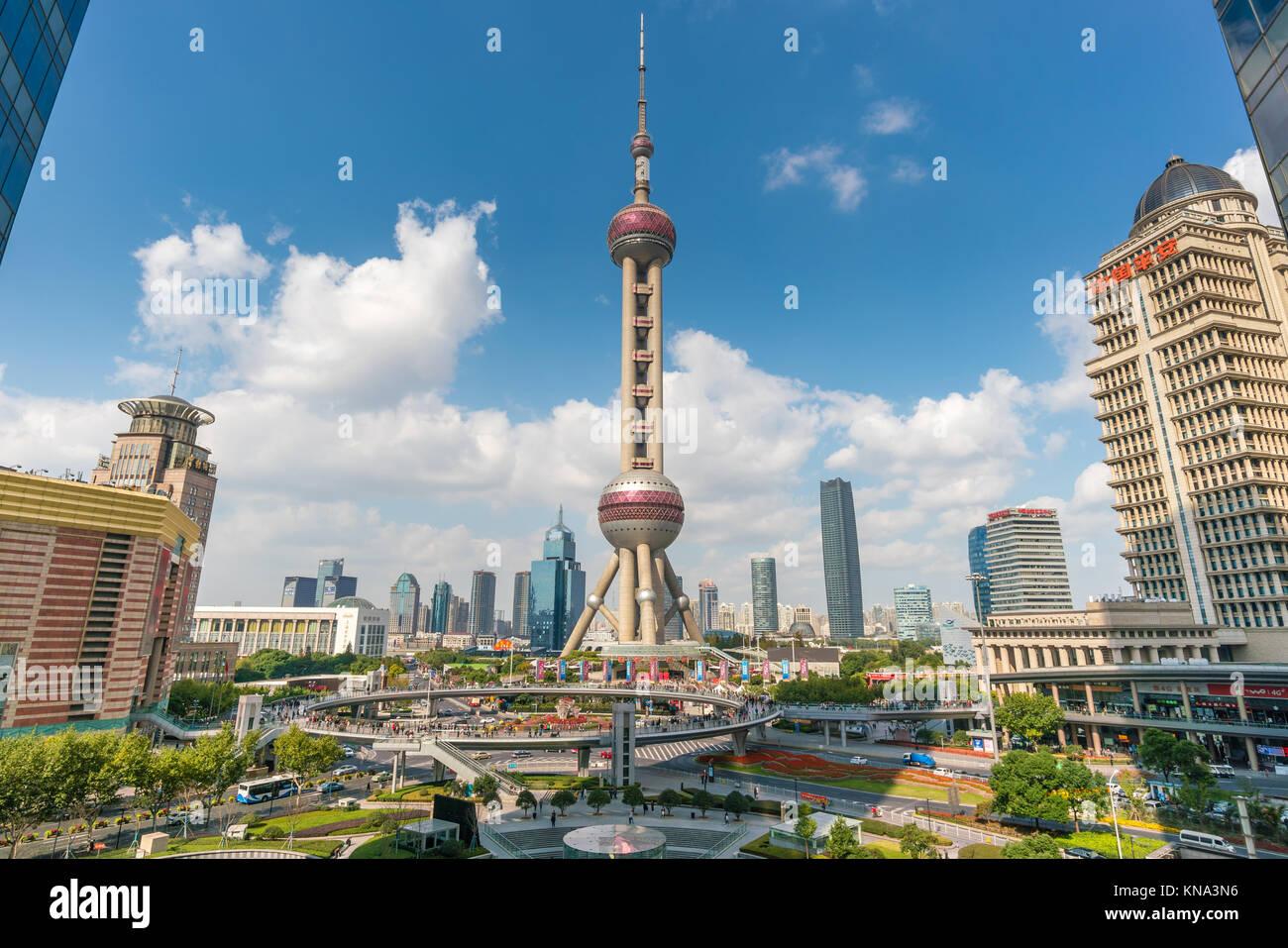 Oriental Pearl Tower in Shanghai - Stock Image