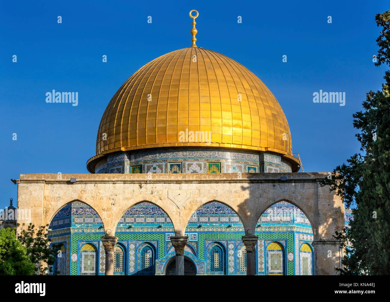 Dome of the Rock Islamic Mosque Temple Mount Jerusalem Israel. Built in 691 One of most sacred spots in Islam where Stock Photo