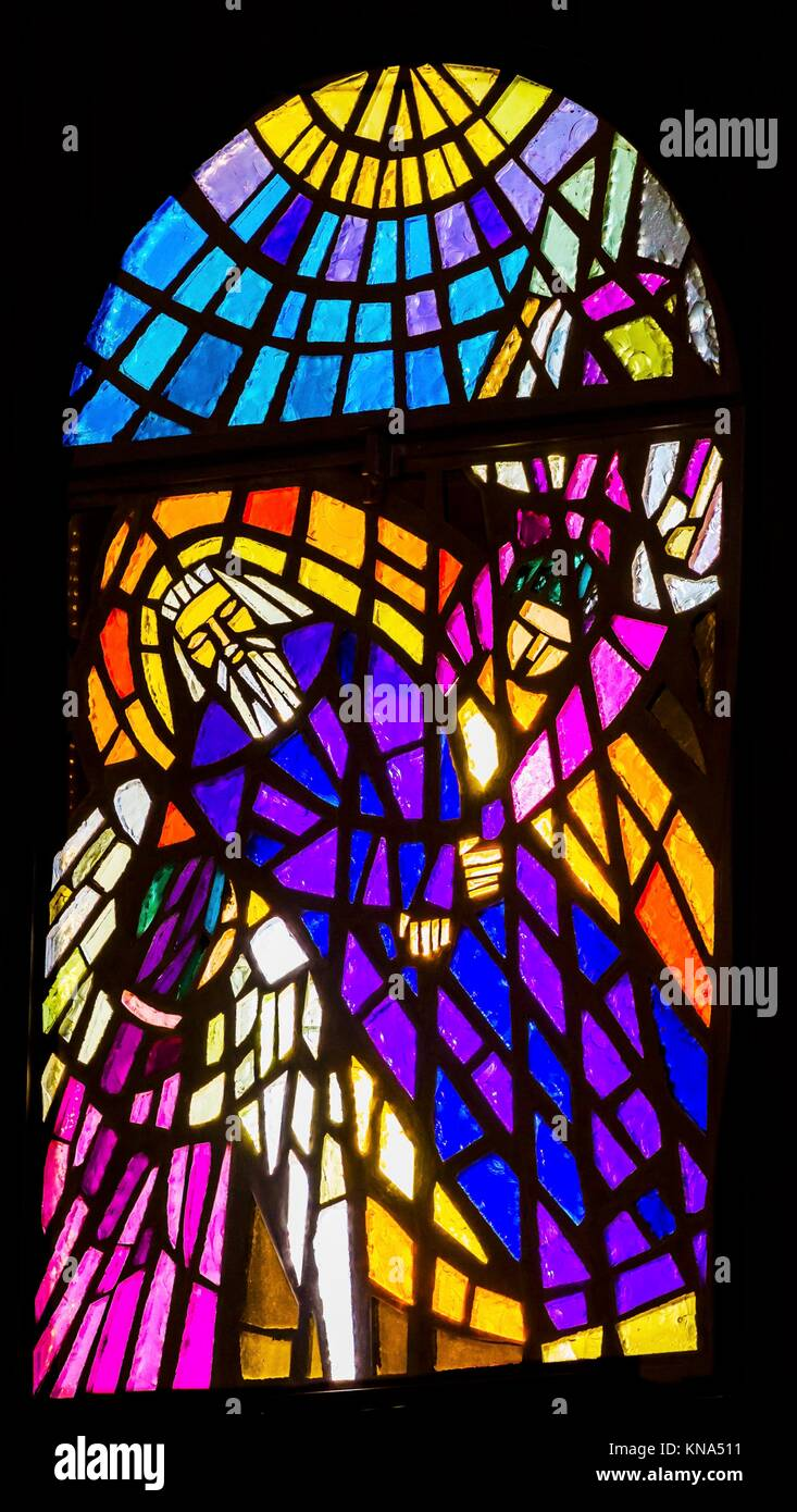 Moses Dead Angels Stained Glass Memorial Church Moses Mount Nebo Jordan. Mount Nebo where Moses saw the holy land Stock Photo