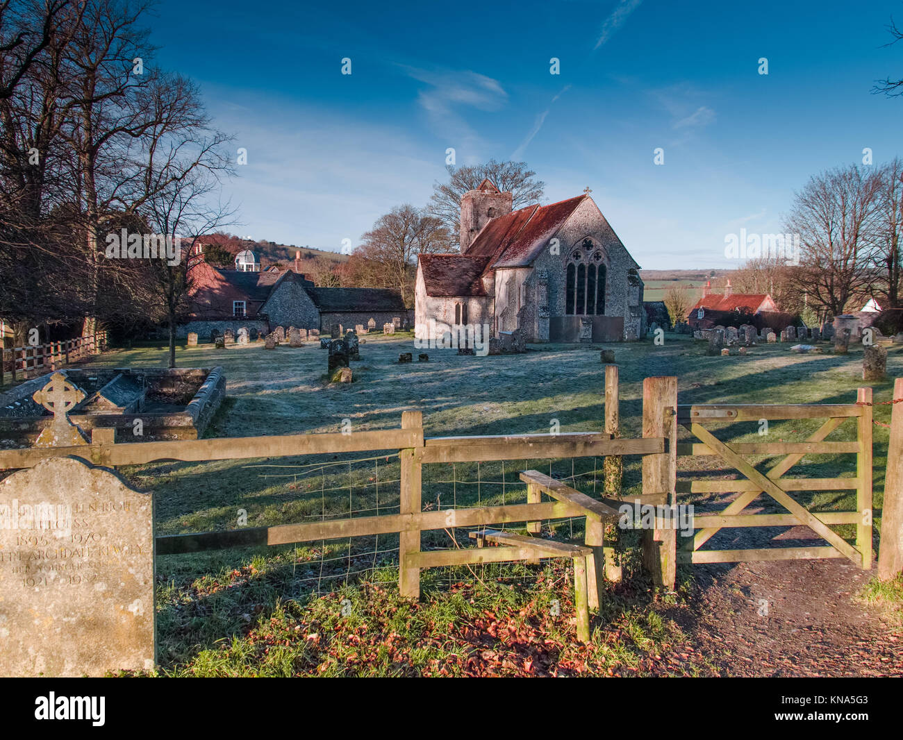 St Michael and All Saints Church, Chalton Hampshire - sunrise on a frosty morning - 13th Century Chancel - Hundred - Stock Image