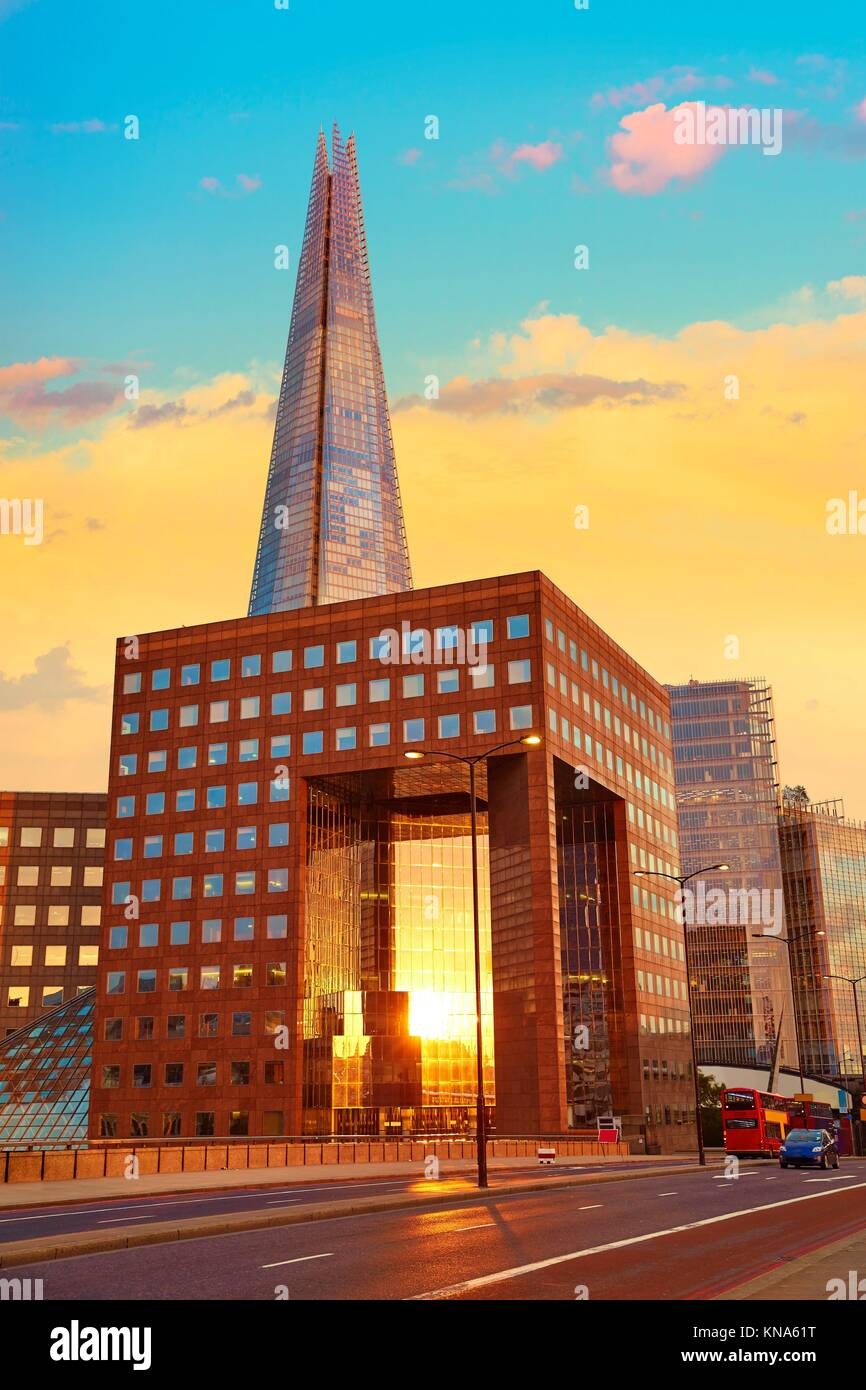 London The Shard building at sunset in England. Stock Photo