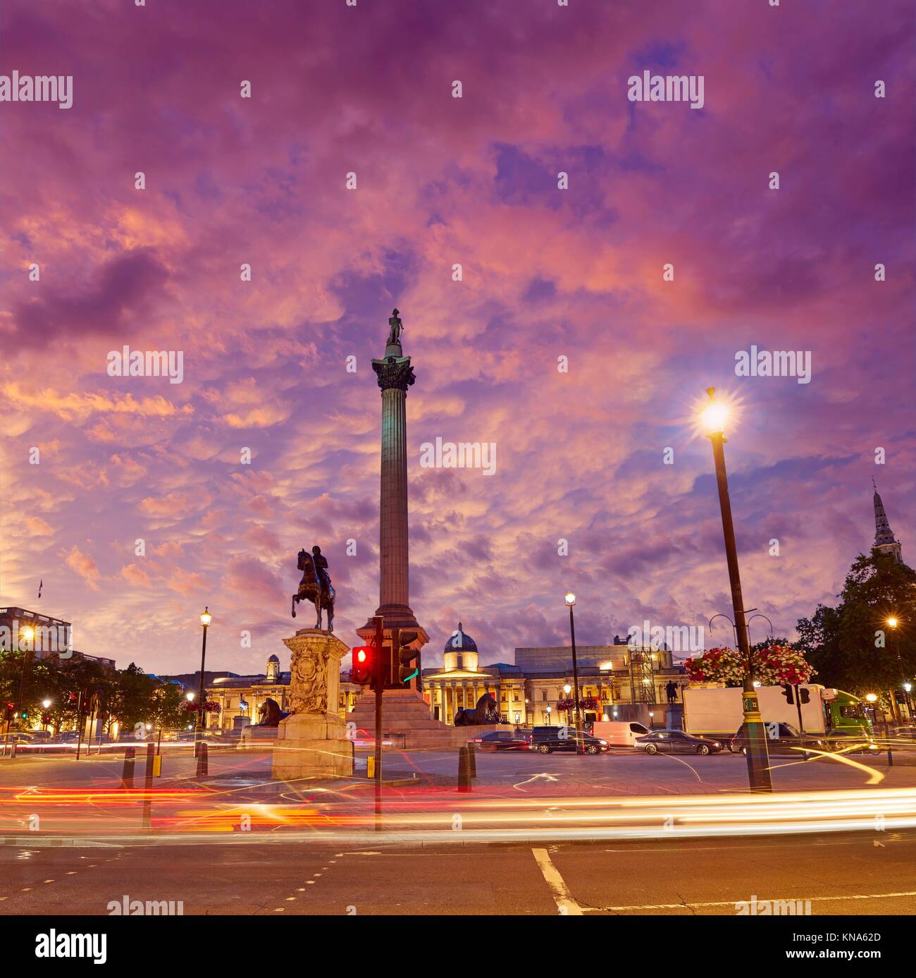 London Trafalgar Square sunset Nelson column in England. Stock Photo