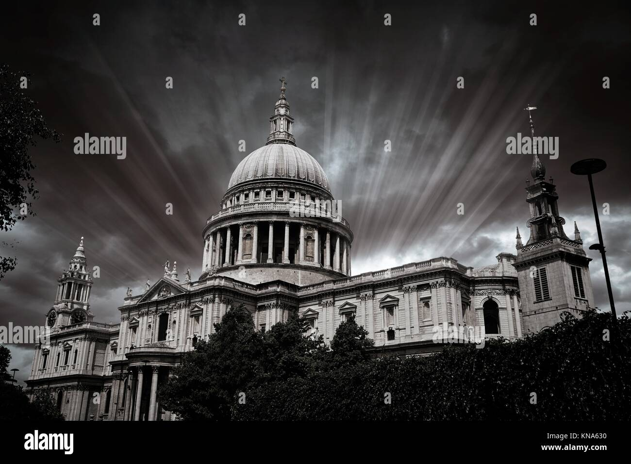 London St Paul Pauls Cathedral facade in England. - Stock Image