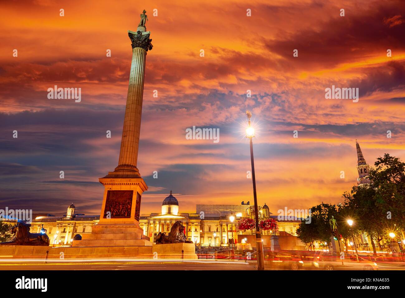 London Trafalgar Square sunset Nelson column in England. Stock Photo