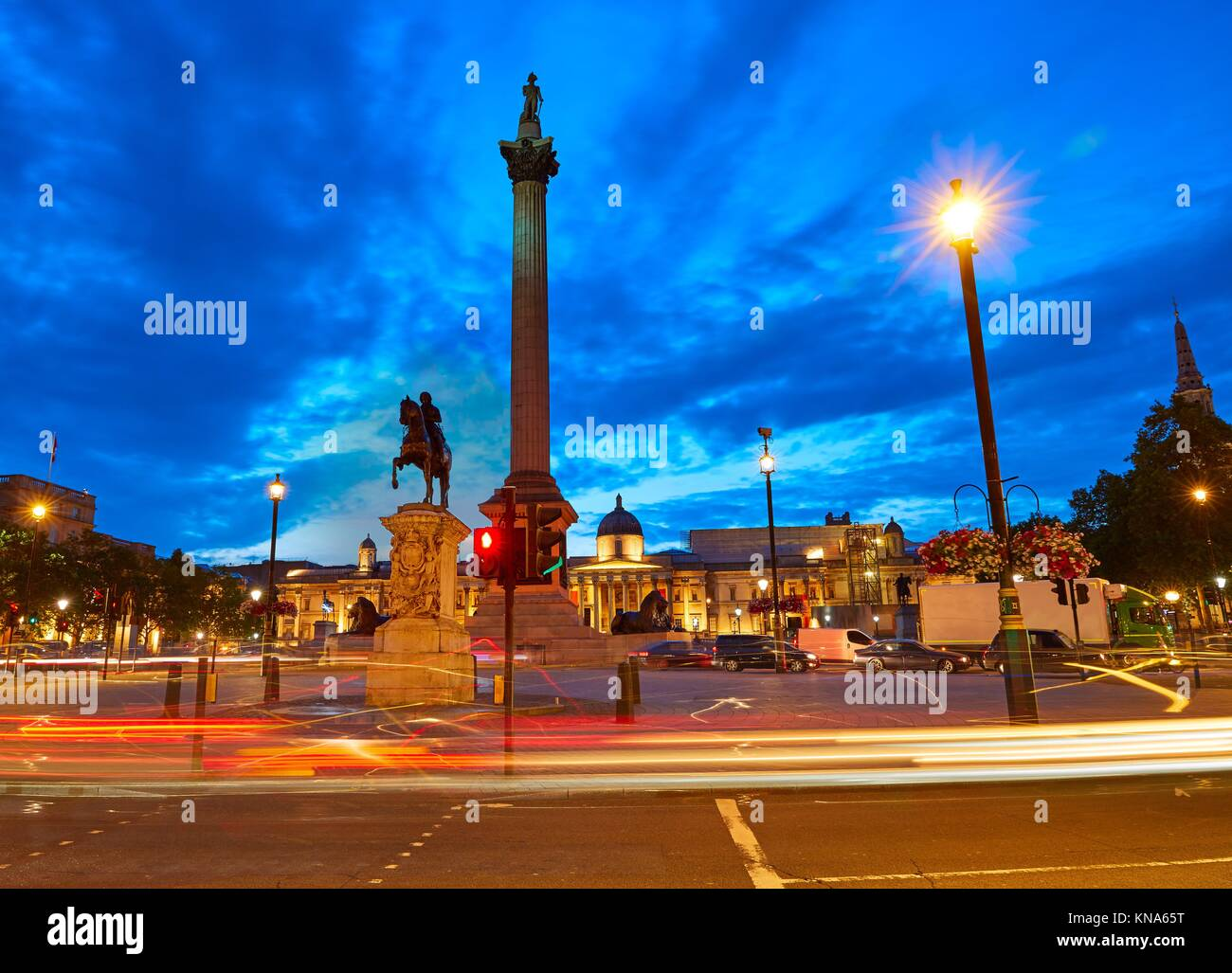London Trafalgar Square sunset Nelson column in England. - Stock Image
