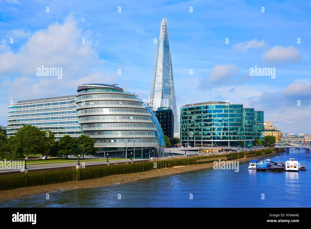 London skyline City Hall and Shard on Thames river. - Stock Image