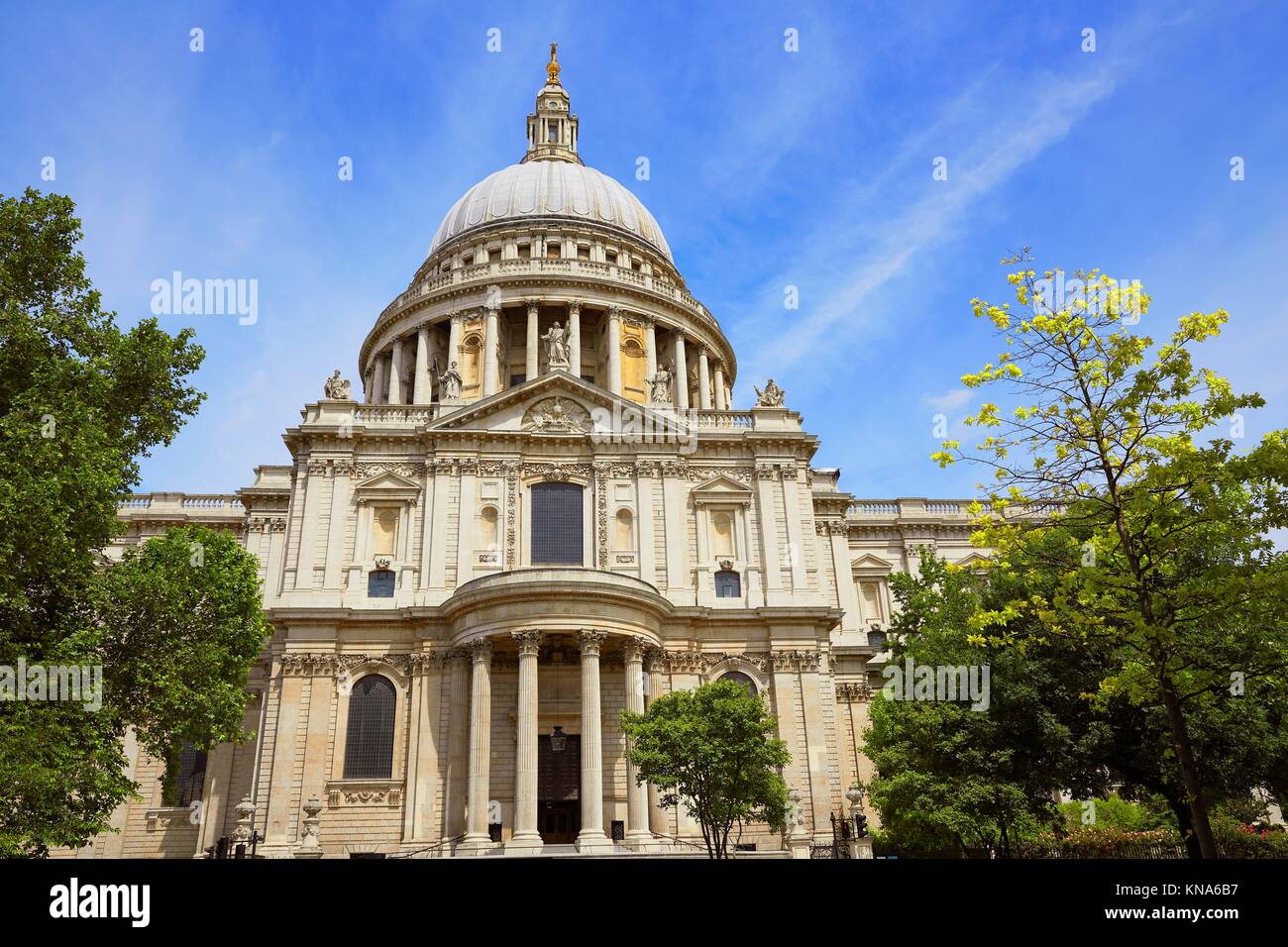 London St Paul Pauls Cathedral facade in England. Stock Photo