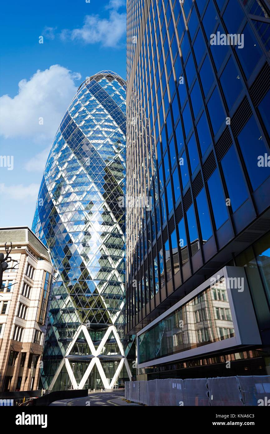 London financial district street Square Mile with Gherkin building. - Stock Image
