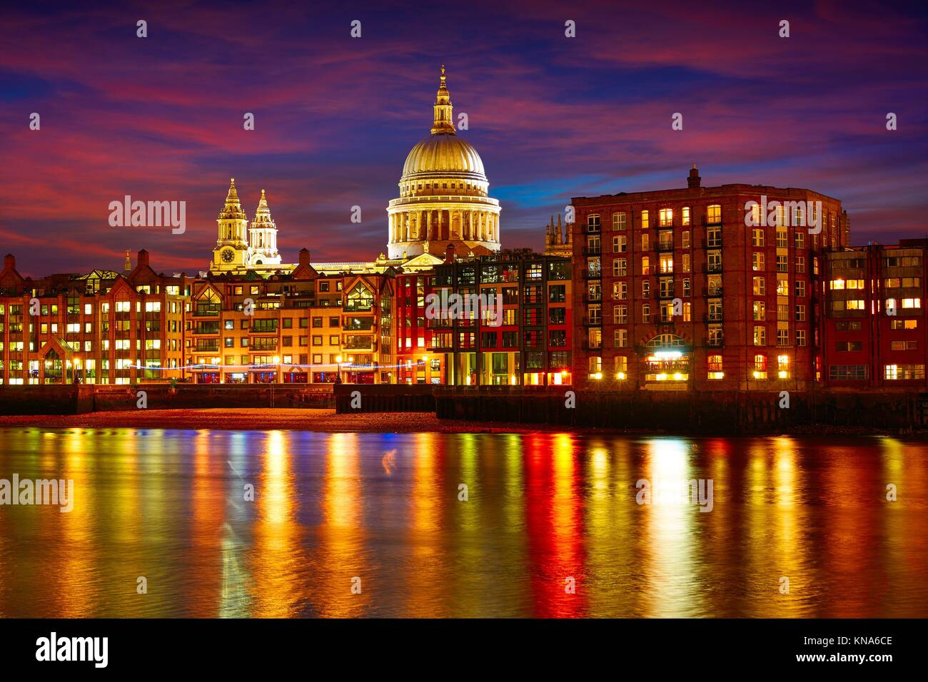 London St Paul Pauls cathedral from Millennium bridge on Thames UK. - Stock Image