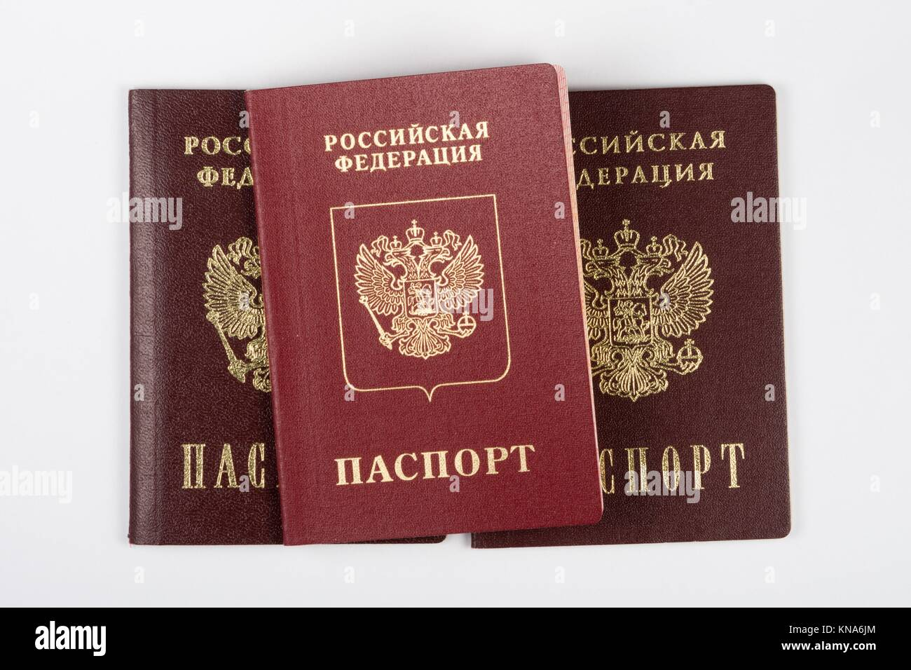 Three passport of the citizen of the Russian Federation on a white background. - Stock Image
