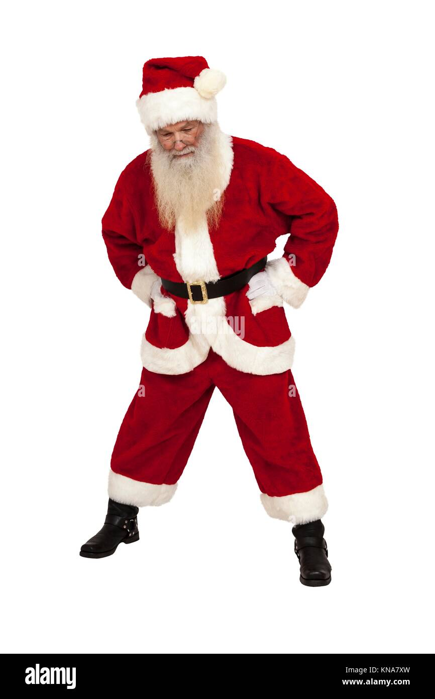 Santa Claus with real beard looks down isolated. - Stock Image