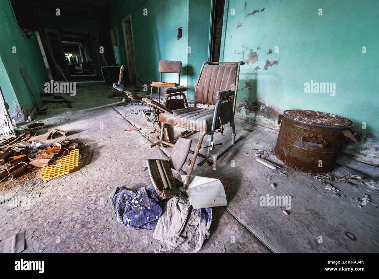 Hospital No. 126 of Pripyat ghost city, Chernobyl Nuclear Power Plant Zone of Alienation around nuclear reactor - Stock Image