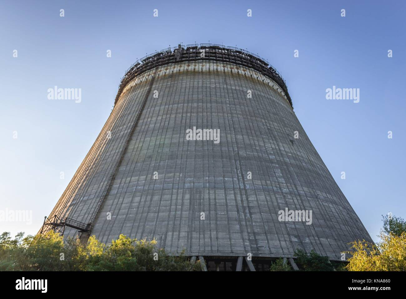 View on cooling tower of Chernobyl Nuclear Power Plant in Zone of Alienation around the nuclear reactor disaster - Stock Image