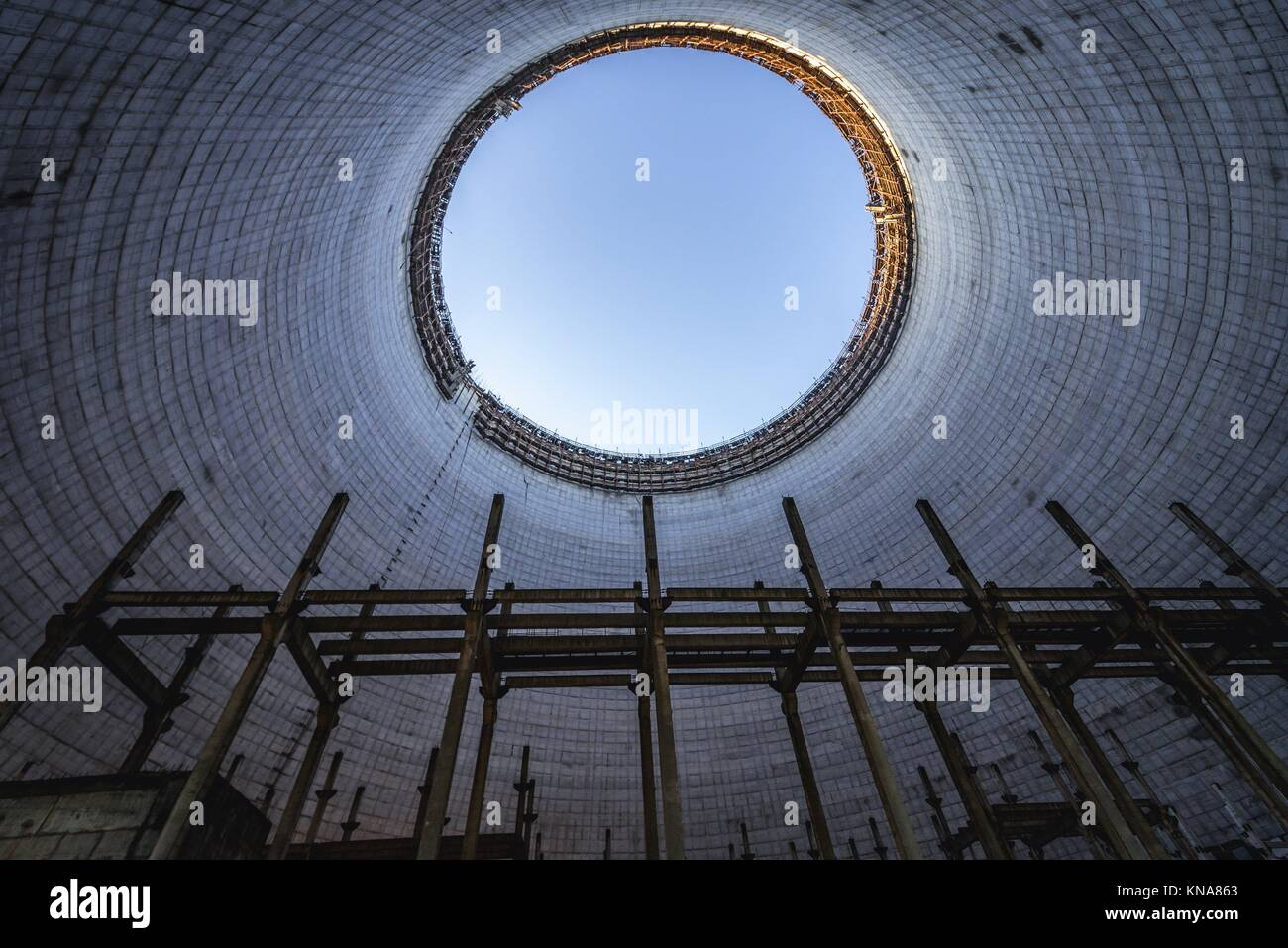 Inside the cooling tower of Chernobyl Nuclear Power Plant in Zone of Alienation around the nuclear reactor disaster - Stock Image
