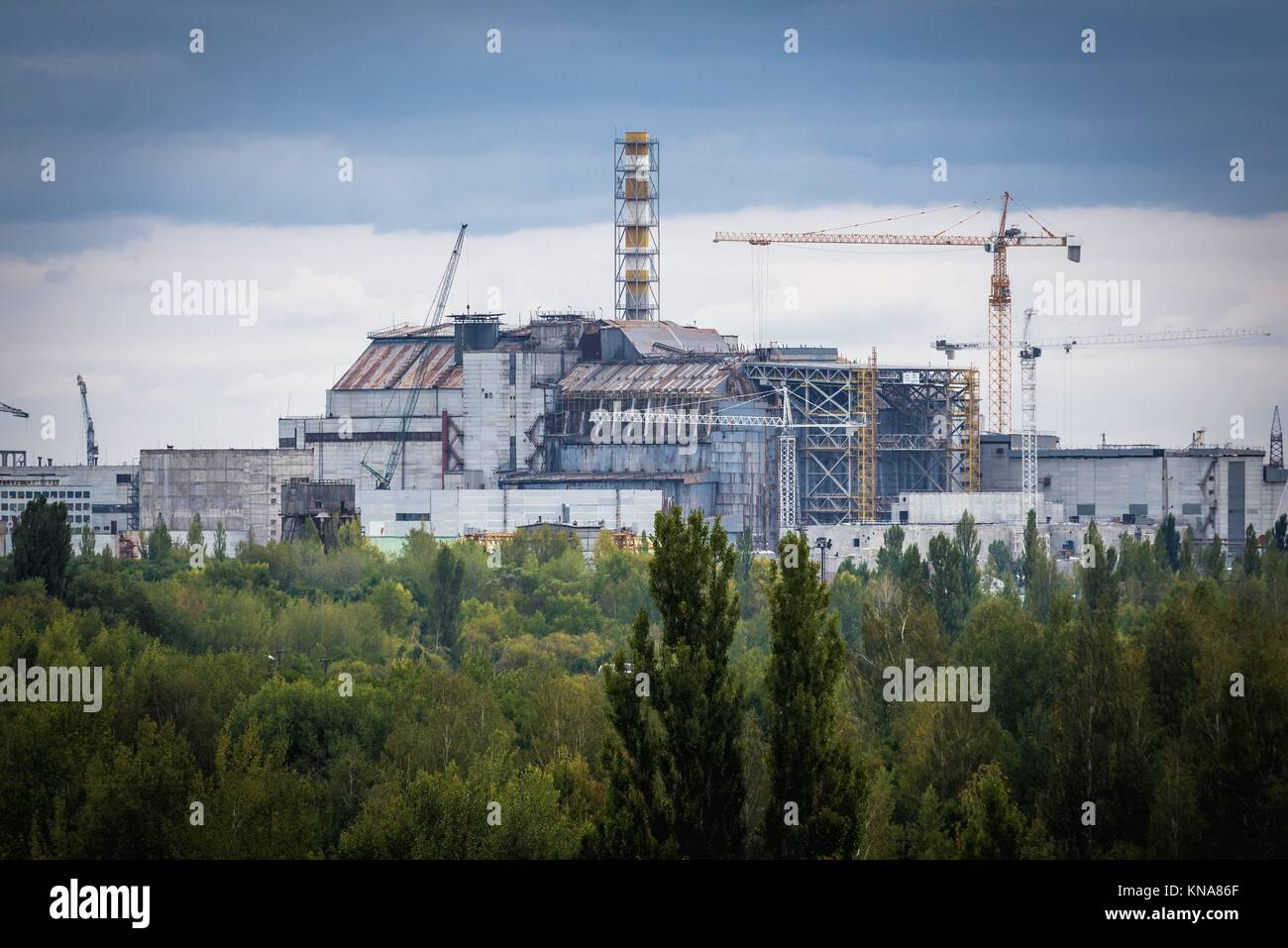 Reactor number 4 of Chernobyl Nuclear Power Plant in Zone of Alienation around nuclear reactor disaster in Ukraine. - Stock Image