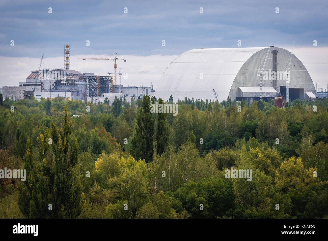 New Safe Confinement of Chernobyl Nuclear Power Plant in Zone of Alienation around the nuclear reactor disaster - Stock Image