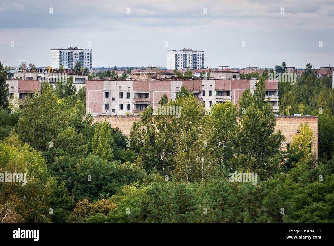 Pripyat ghost city of Chernobyl Nuclear Power Plant Zone of Alienation around nuclear reactor disaster in Ukraine. - Stock Image