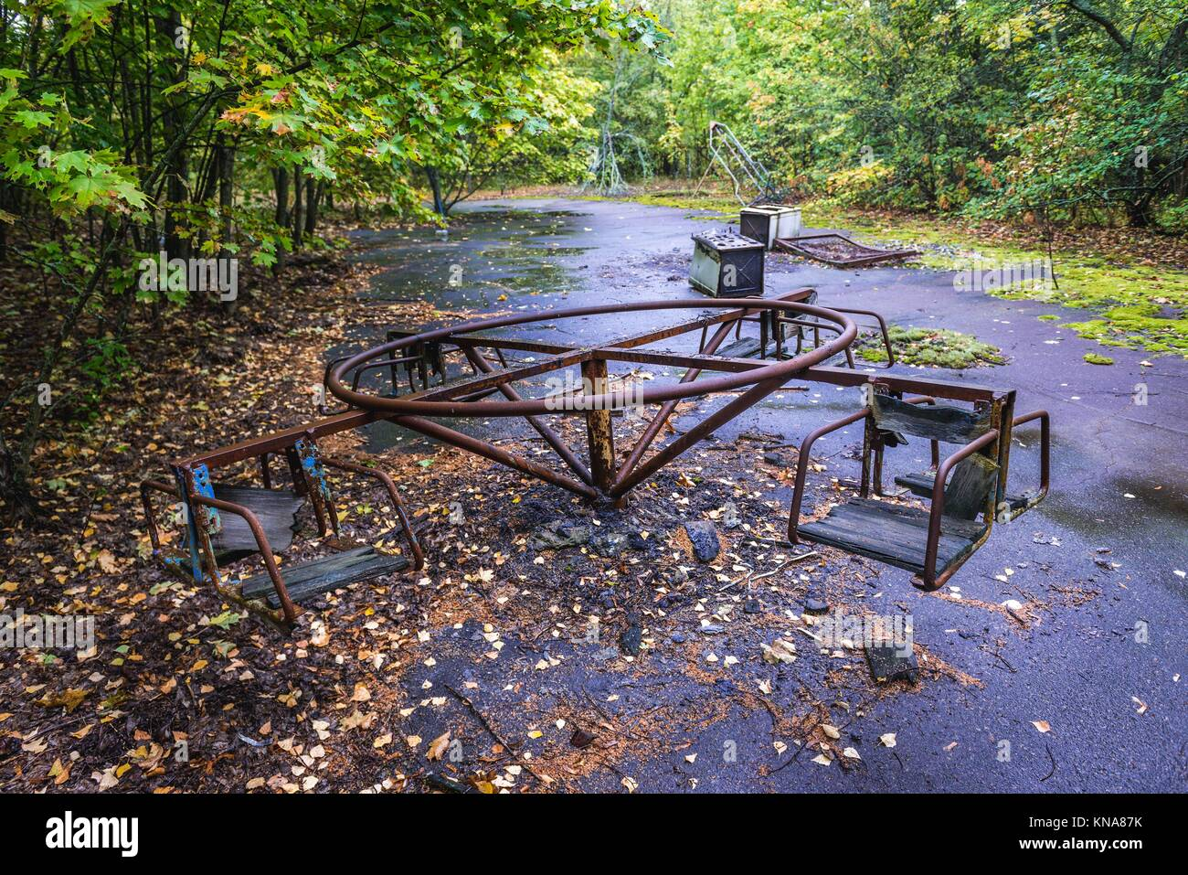 Playground in Pripyat ghost city of Chernobyl Nuclear Power Plant Zone of Alienation around nuclear reactor disaster - Stock Image