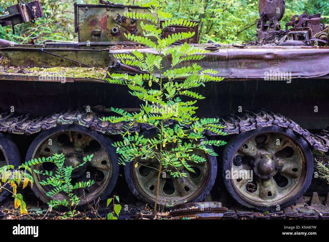 Irradiated vehicle used for clean-up operation after Chernobyl accident in Chernobyl Nuclear Power Plant Zone of Stock Photo