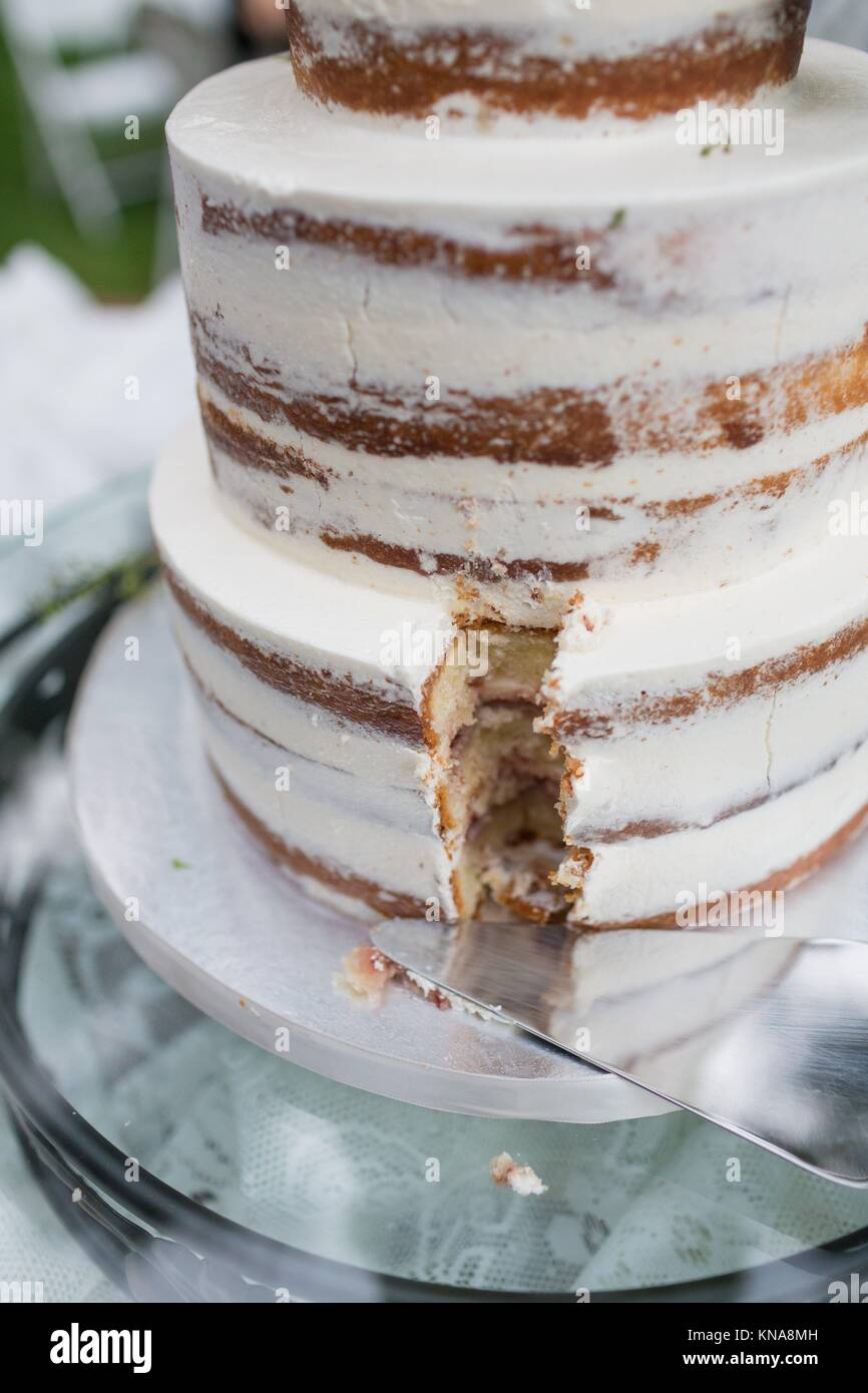 Elegant wedding cake at an outdoor reception in Oregon. - Stock Image