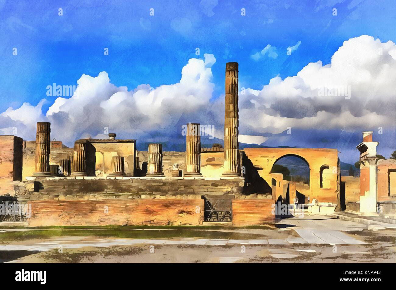 Colorful painting of Forum Pompeii Campania Italy. - Stock Image