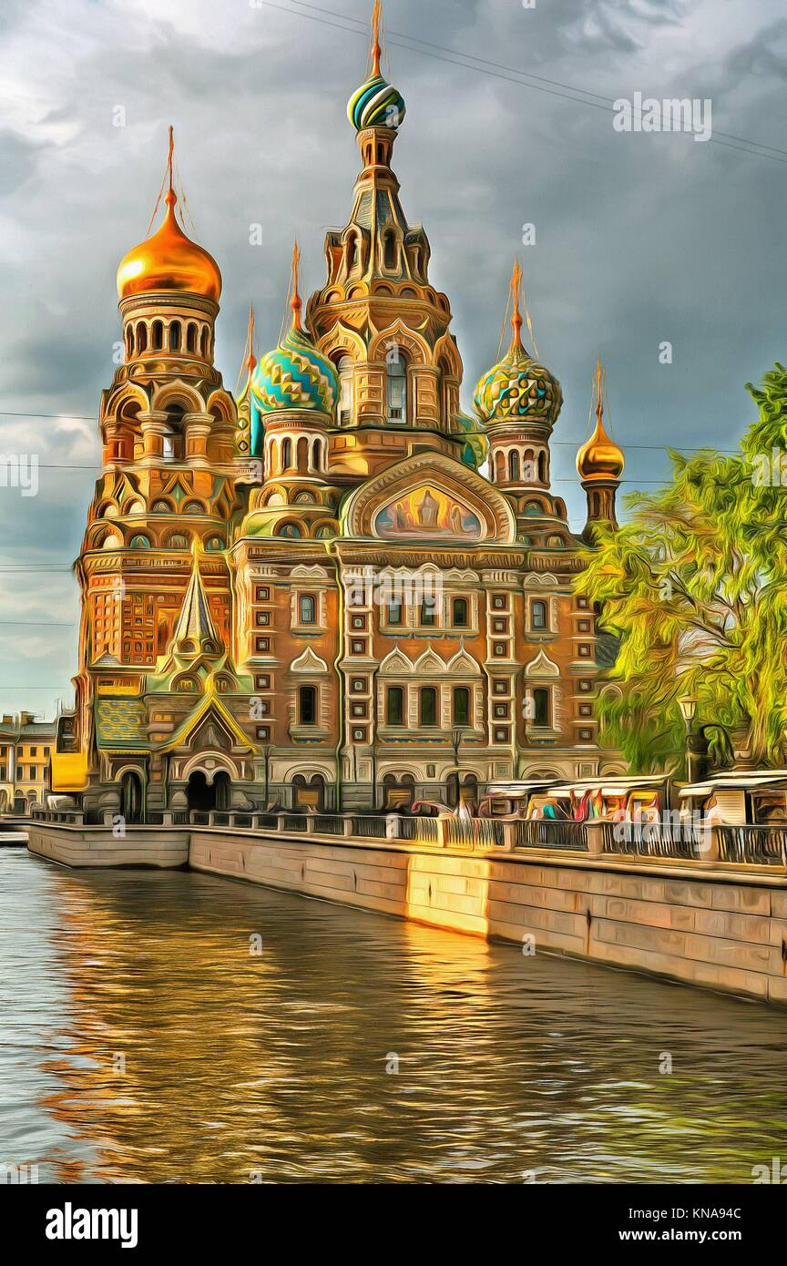 Colorful painting of Church of the Savior on Blood, Saint Petersburg, Russia. - Stock Image