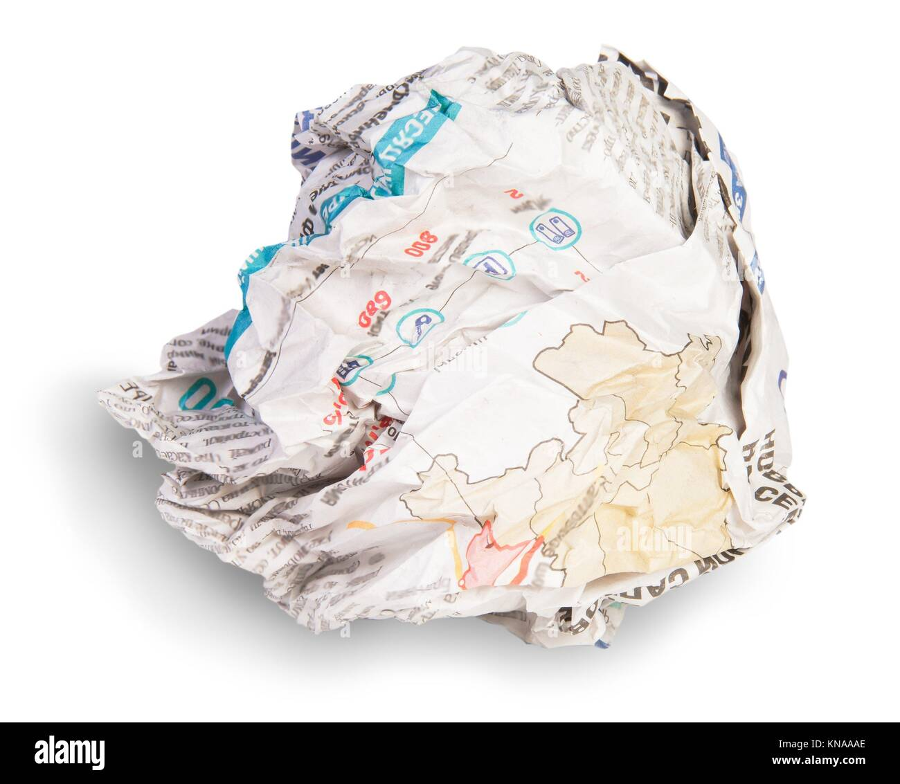 Crumpled Sheet Of Newspaper Isolated On White Background. - Stock Image
