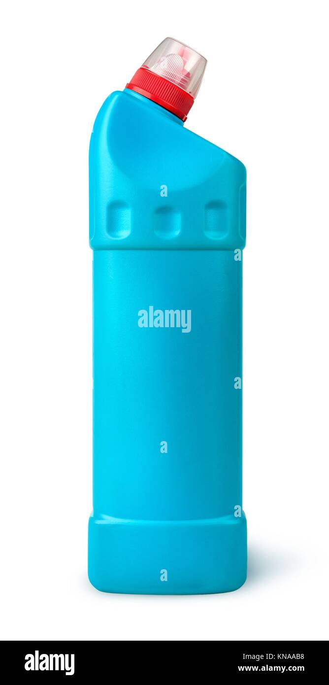 Disinfectant in a plastic bottle isolated on white background. - Stock Image