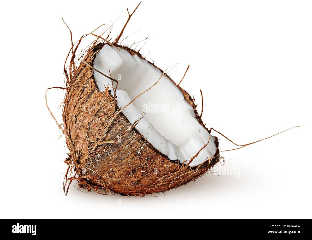 Half coconut rotated isolated on white background. - Stock Image