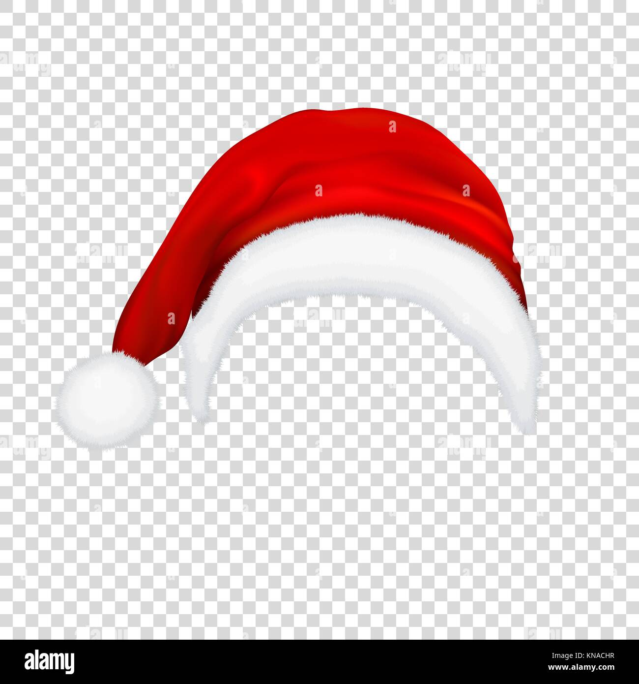 Christmas Hat Transparent.Realistic Vector Red Santa Claus Hat Icon Isolated On