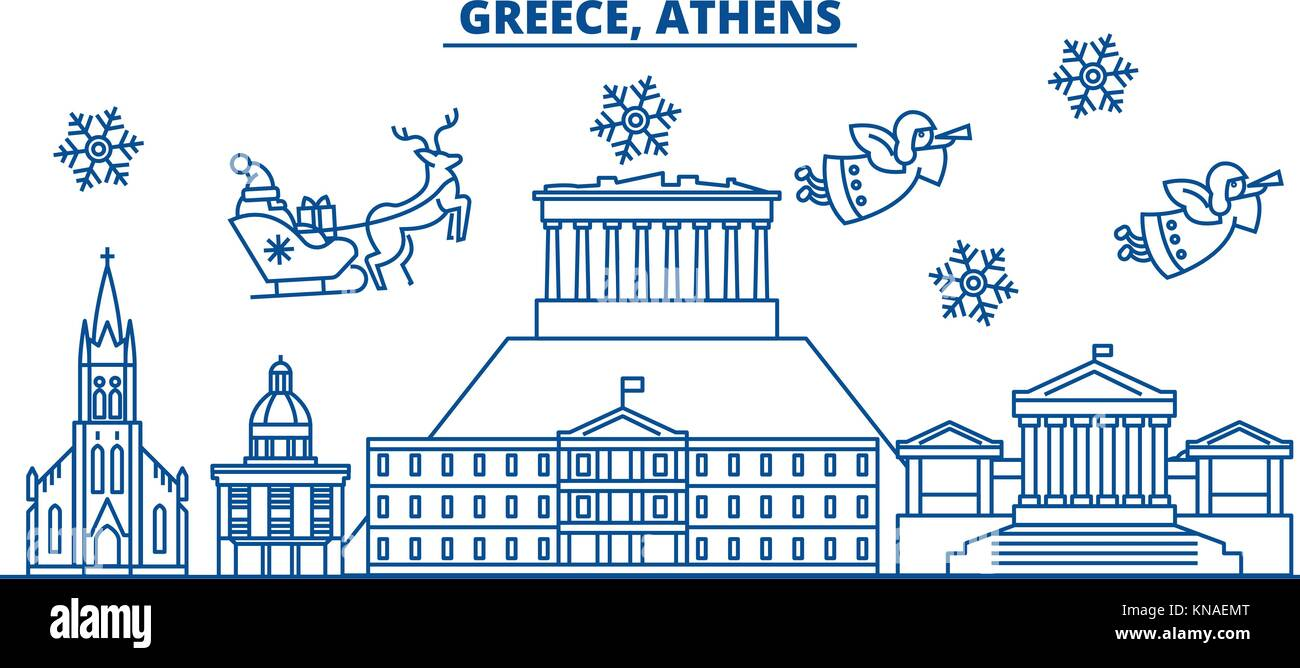 greece athens winter city skyline merry christmas happy new year decorated banner with santa clauswinter greeting line cardflat outline vector