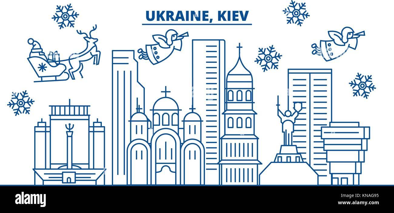 Ukraine Kiev Winter City Skyline Merry Christmas Happy New Year