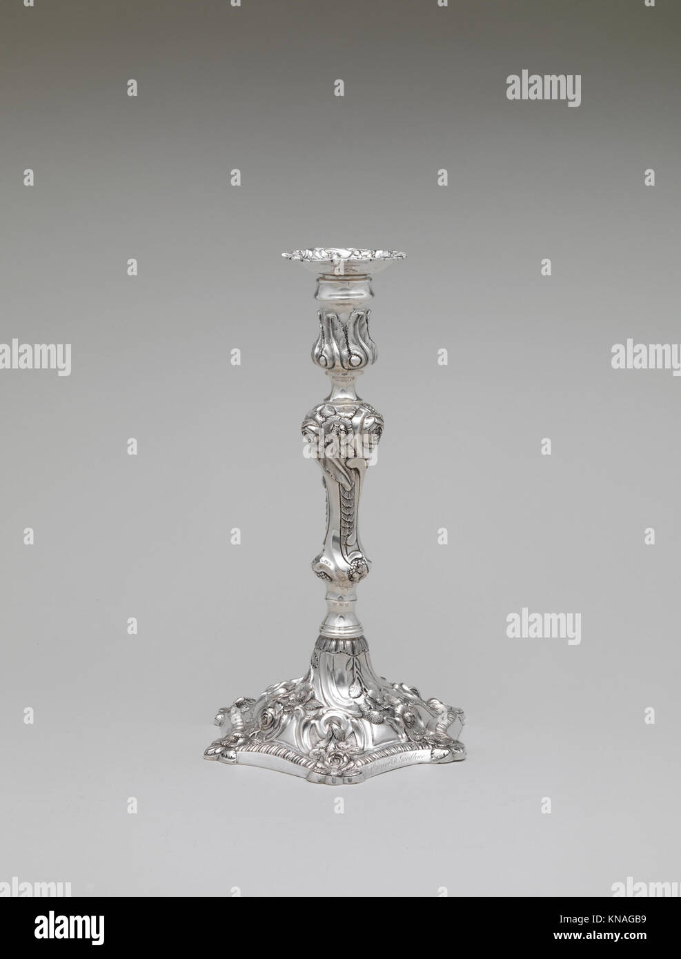 Candlestick MET DP251752 1329 Maker: William Thomson, 1777?1833, Candlestick, ca. 1825, Silver, Overall: H. 11 1/16 - Stock Image