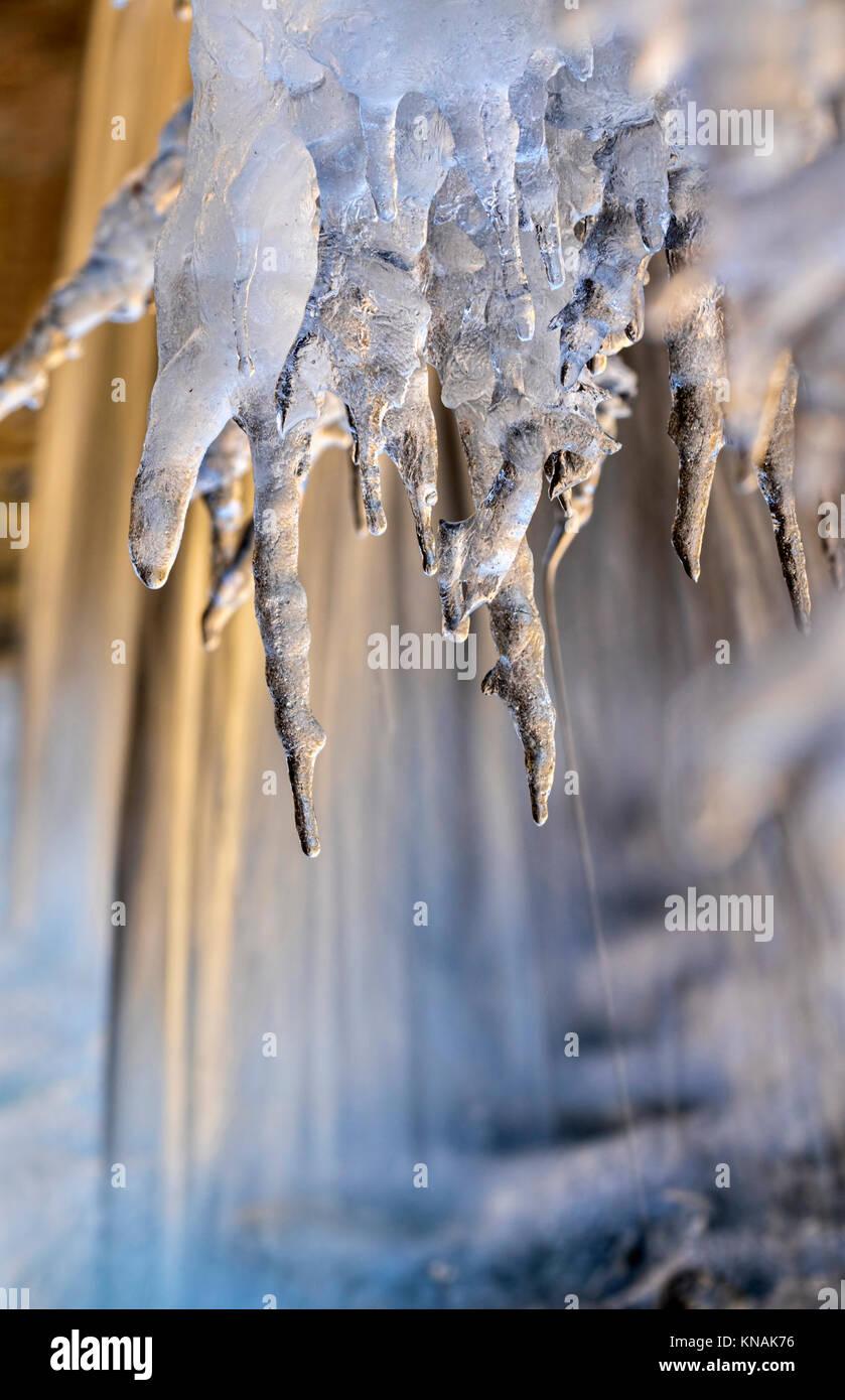 Frozen waterfall at morning sunlight, Ledges State Park, Iowa, USA. Stock Photo