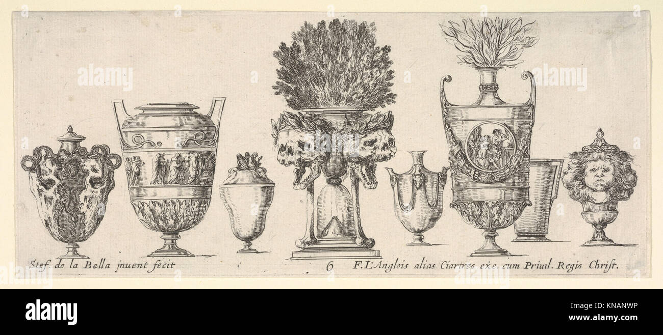 Eight vases, a clepsydra in center decorated with two skulls with laurel wreaths, plate 6 from 'Collection of - Stock Image