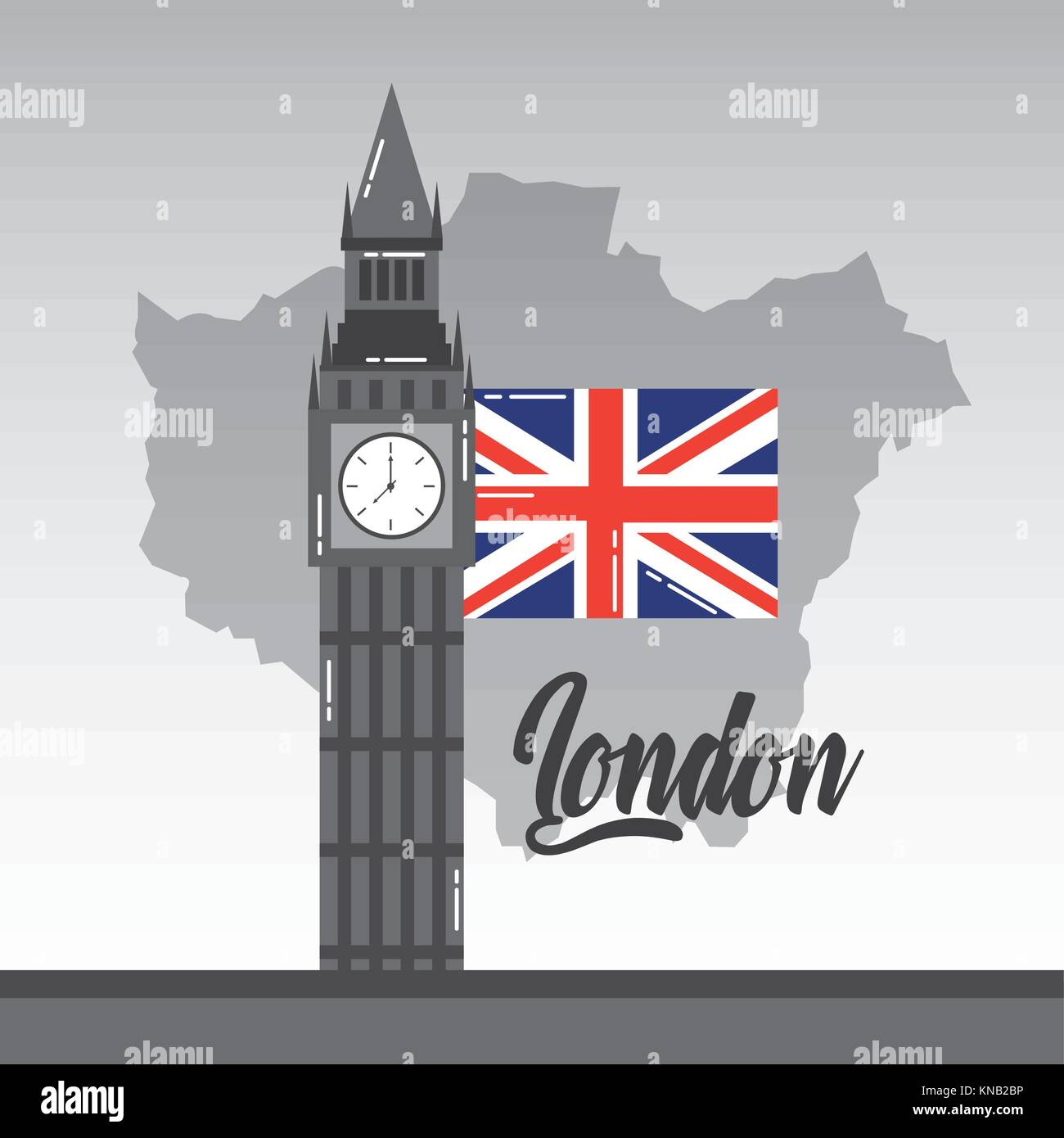 big ben london map and flag british landmark stock image