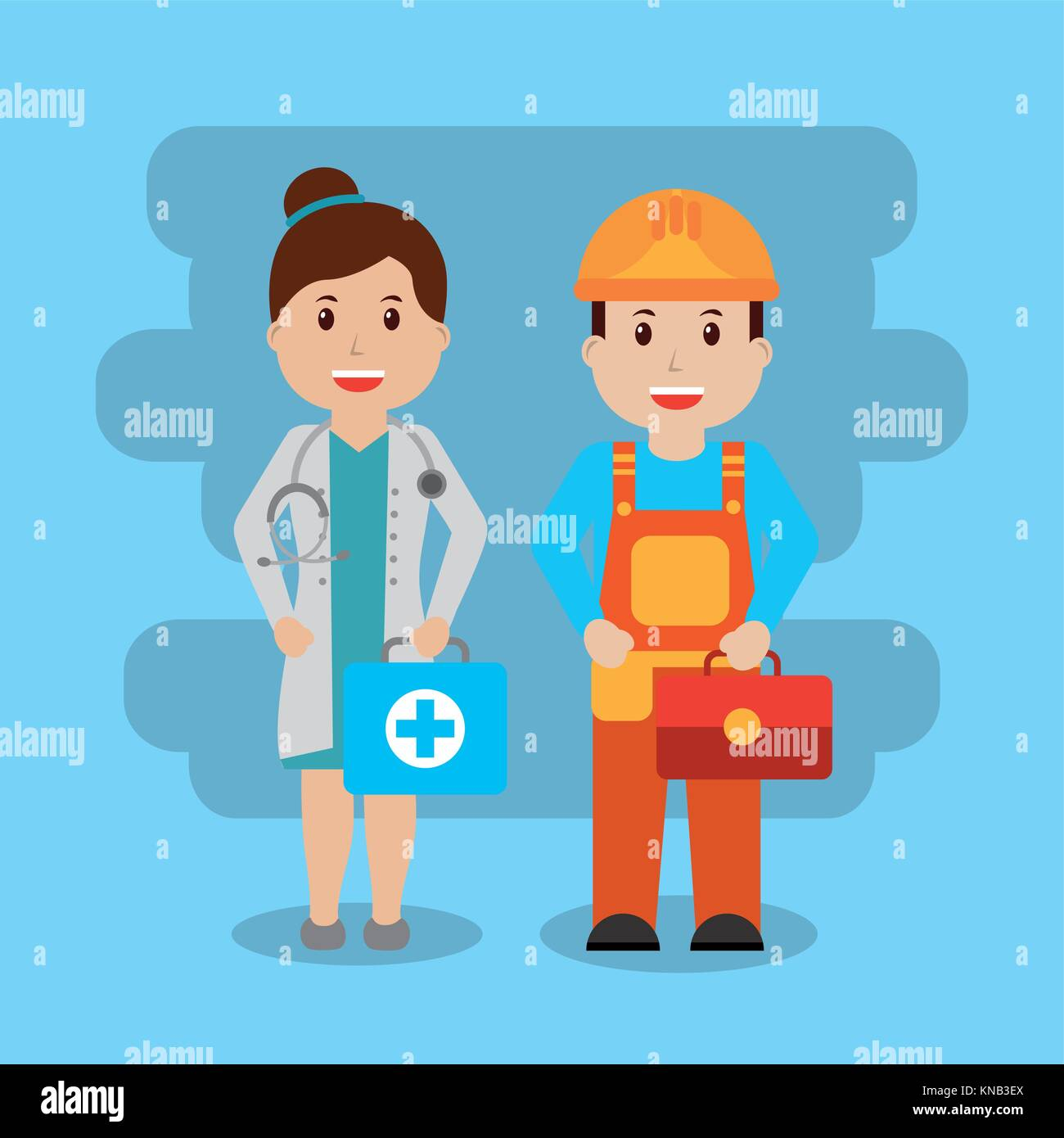 two workers female doctor with kit fist aid and foreman construction toolbox - Stock Image
