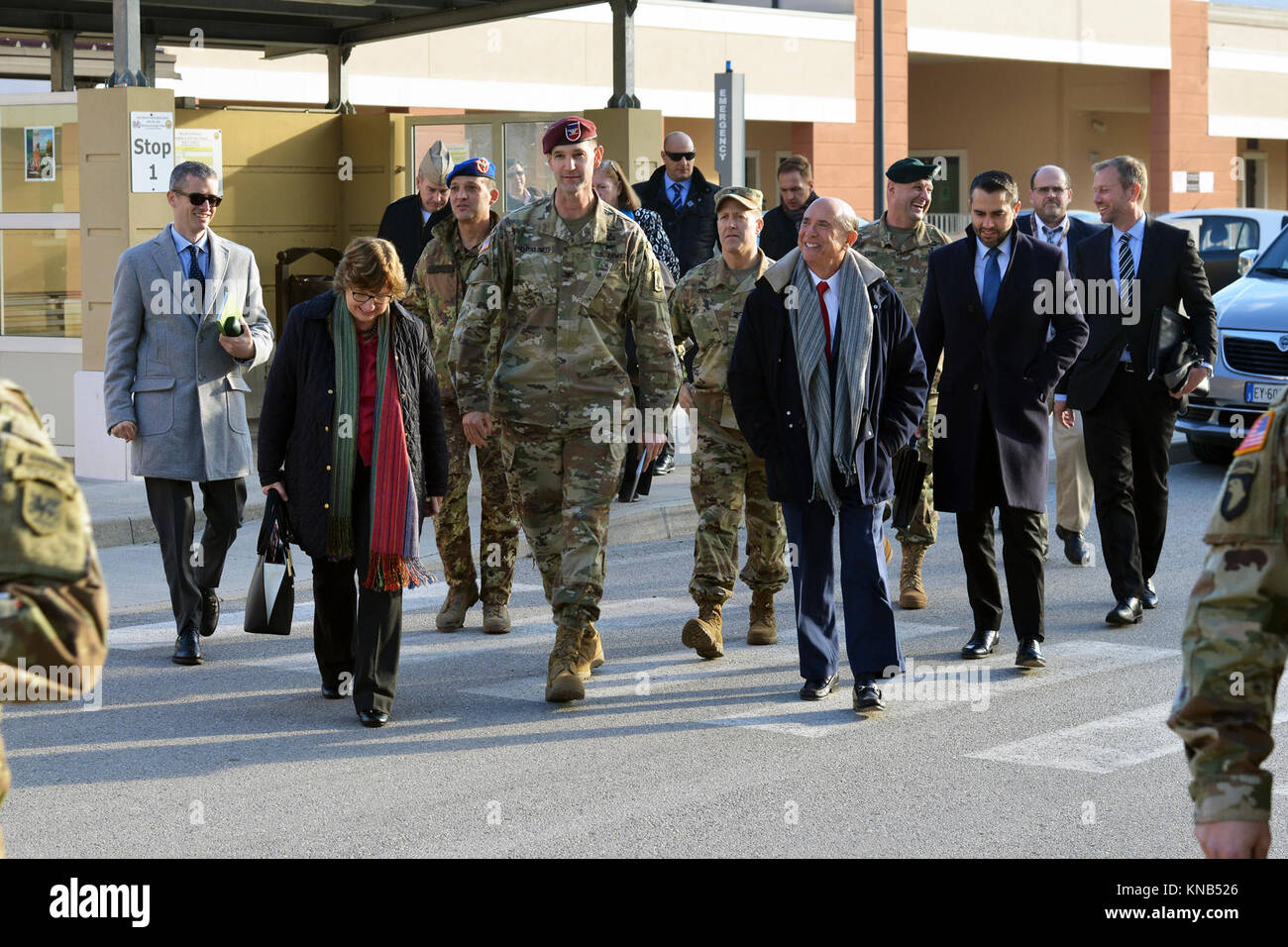 U.S. Ambassador to Italy Lewis Eisenberg visited with leaders from U.S. forces at Caserma Del Din, Vicenza, Italy, Stock Photo