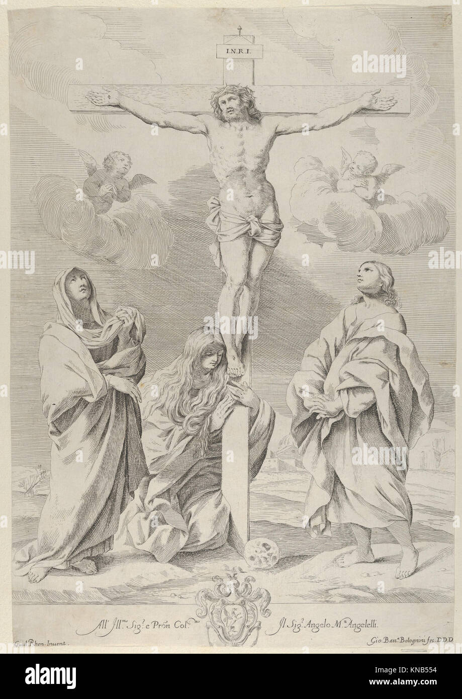 Christ on the cross, Saint John the Baptist at right, Mary Magdelene and the Virgin at left, after Reni MET DP841308 - Stock Image