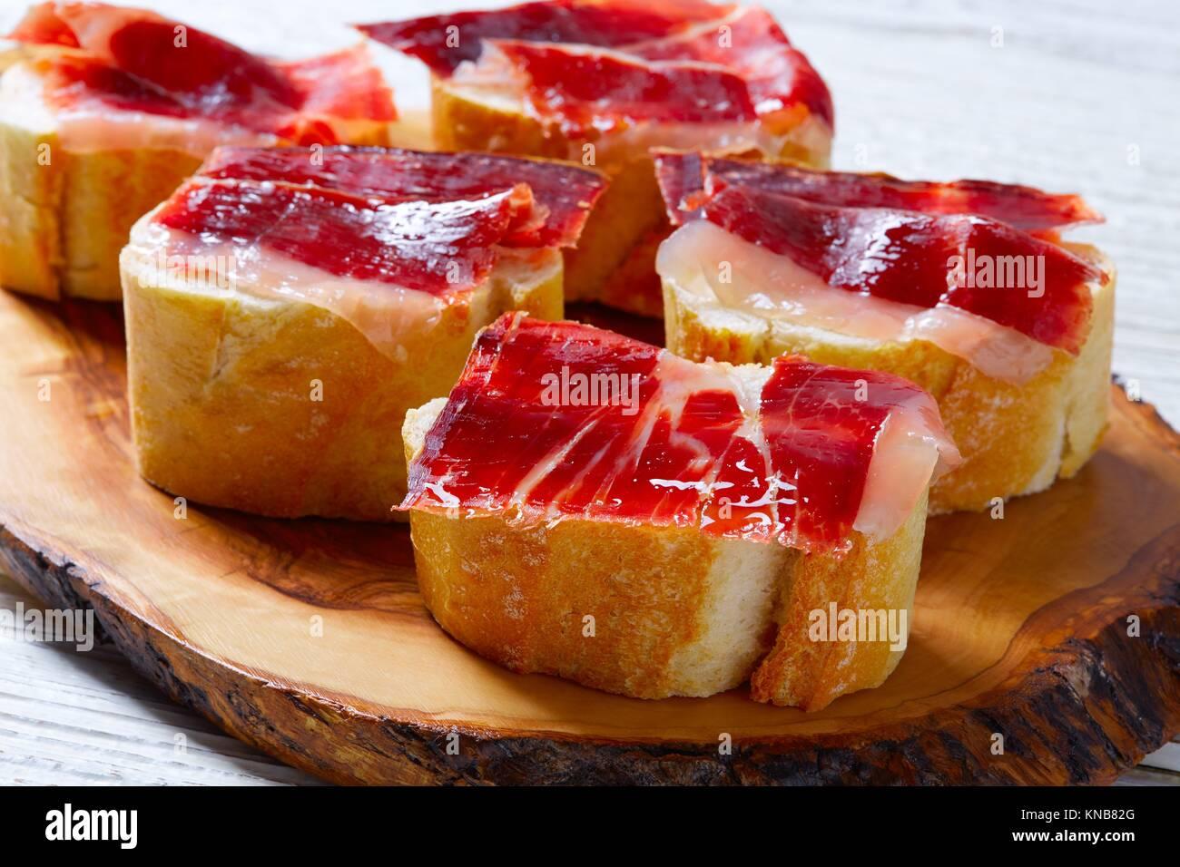 iberian ham from Spain tapas pinchos food recipes. - Stock Image