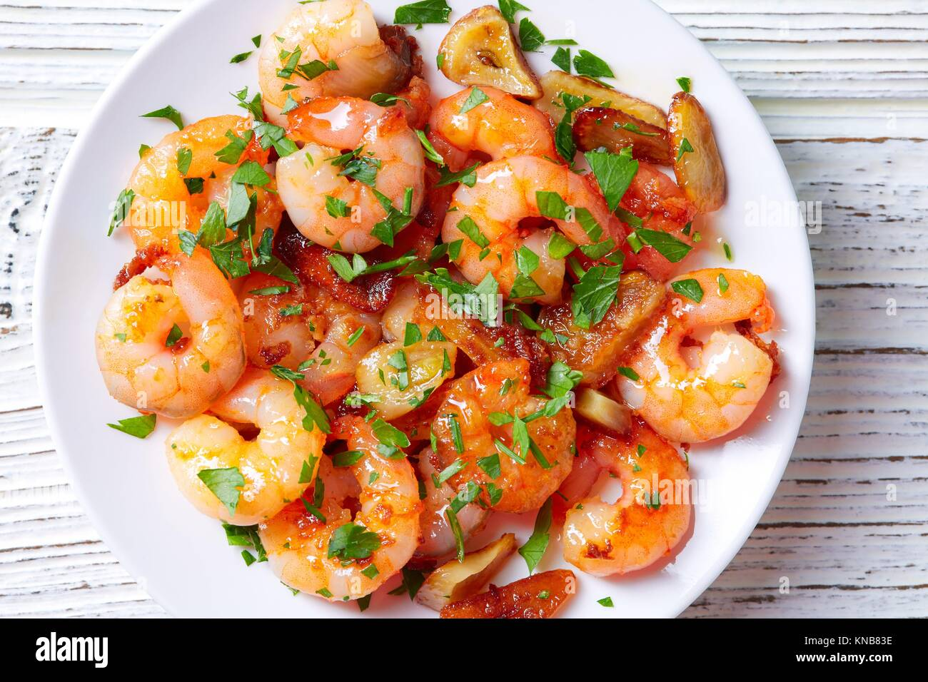 Garlic shrimp pinchos tapas from Spain gambas al ajillo. - Stock Image