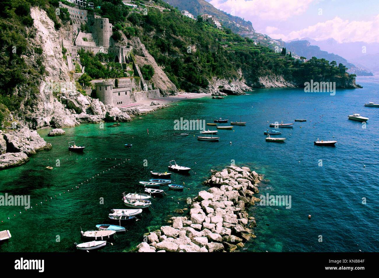 Amazing Italy Landscape, in Conca dei Marine Beach - Amalfi Coast.  It is situated on a hill close to the coast - Stock Image
