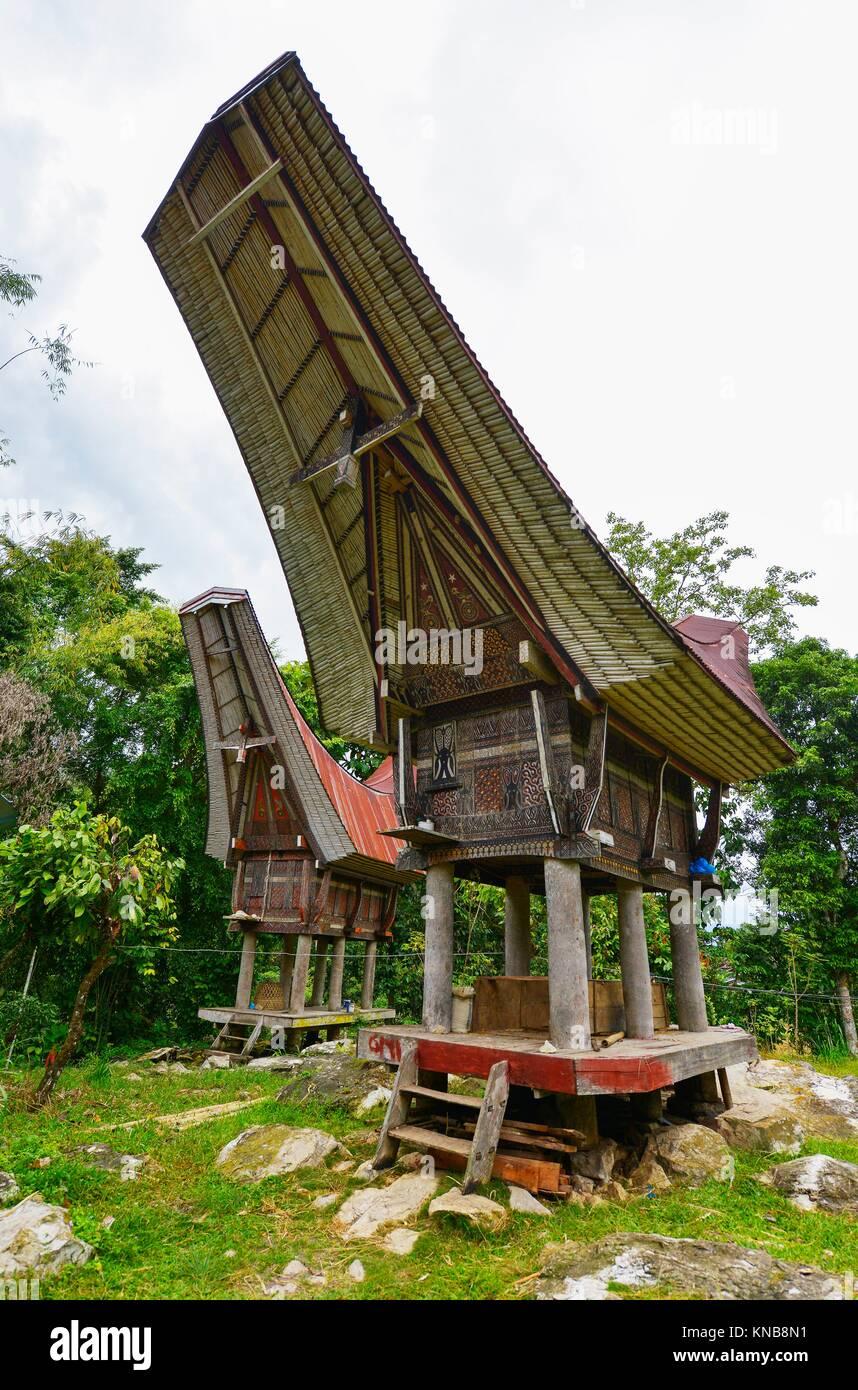 Tongkonan traditional houses in Tana Toraja, Sulawesi, Indonesia. - Stock Image