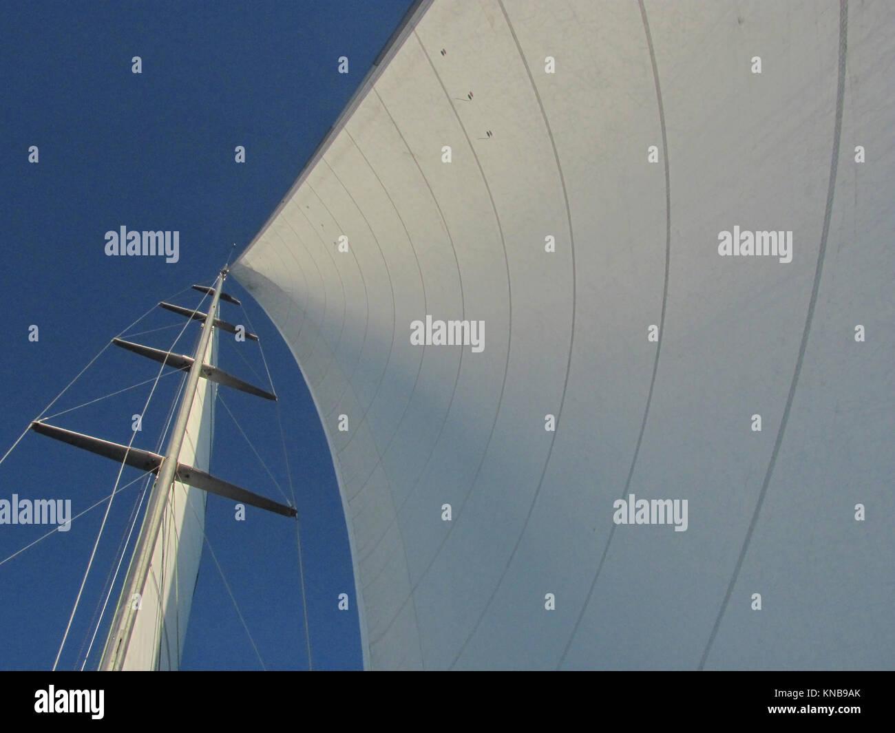 Main Sail on Sailboat - Stock Image