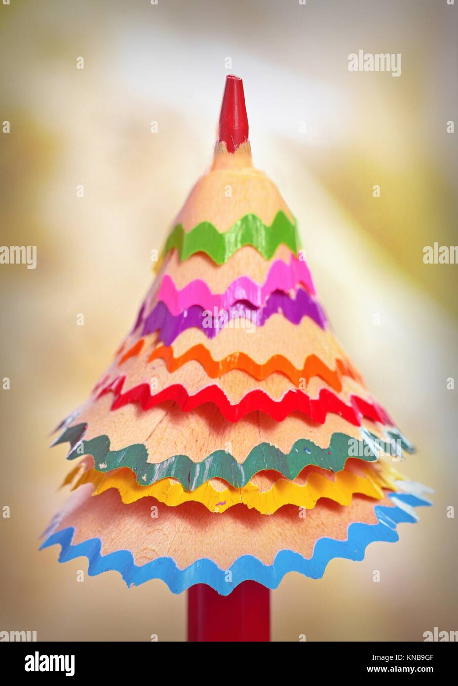 tree made â. ‹â. ‹of colored pencil shavings. - Stock Image