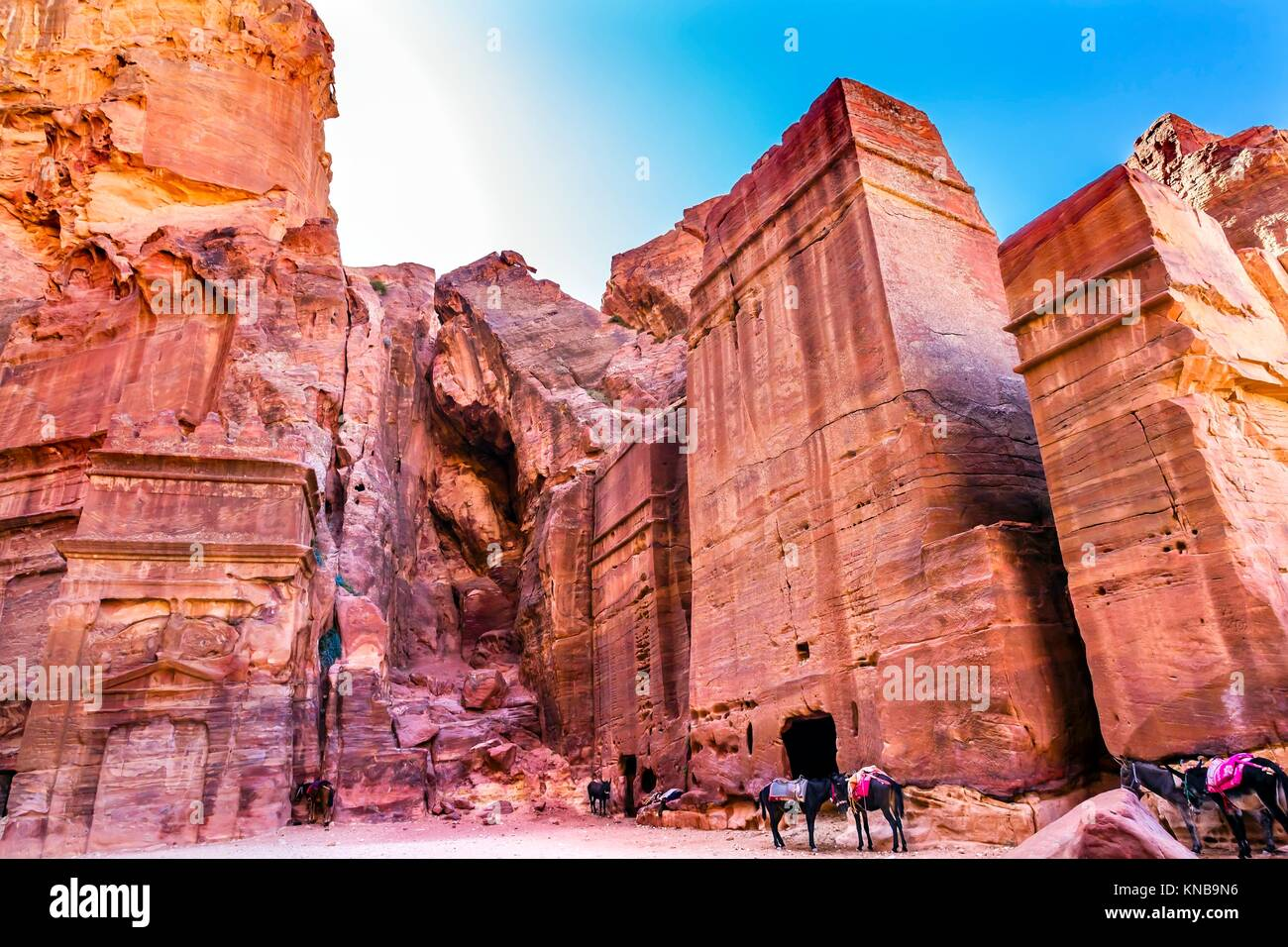 Rose Red Rock Tomb Afternoon Horses Street of Facades Petra Jordan. Built by the Nabataens in 200 BC to 400 AD. - Stock Image