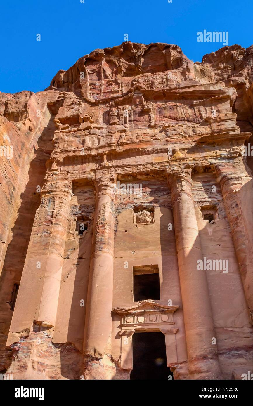 Royal Tomb Arch Petra Jordan. Built by the Nabataens in 200 BC to 400 AD. Rose Red canyon walls create many abstracts Stock Photo