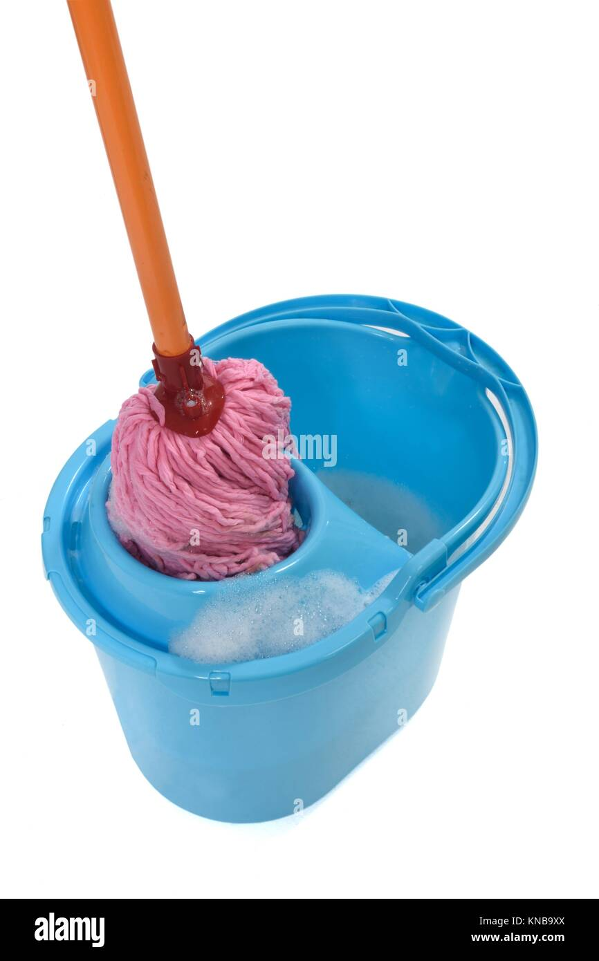 wring the mop. - Stock Image