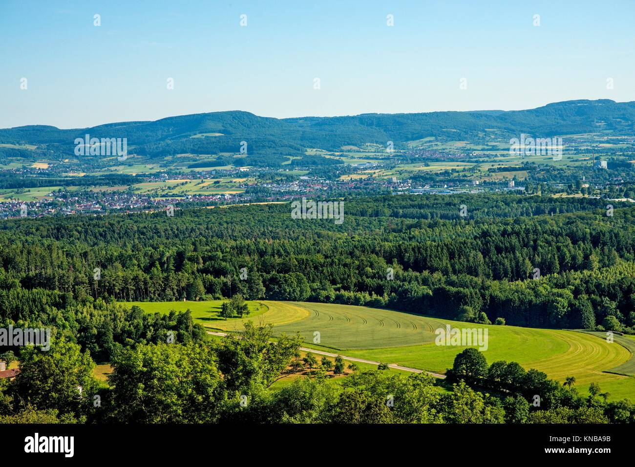 panoramic view to the Swabian Alb. - Stock Image